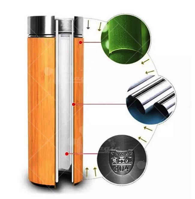 Cấu tạo bình giữ nhiệt vỏ tre khắc logo