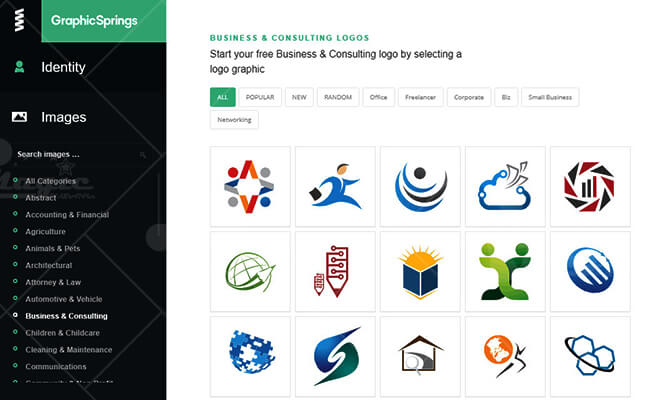 Phần mềm tạo logo online Graphicsprings